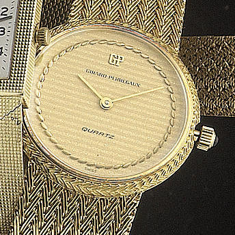 Girard Perregaux. An 18ct gold quartz bracelet watch1980s