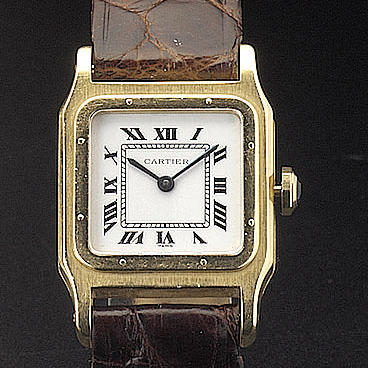 Cartier. An 18ct gold wristwatch 'Santos Dumont' recent