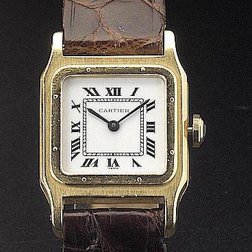 Cartier. An 18ct gold wristwatch 'Santos Dumont' recent