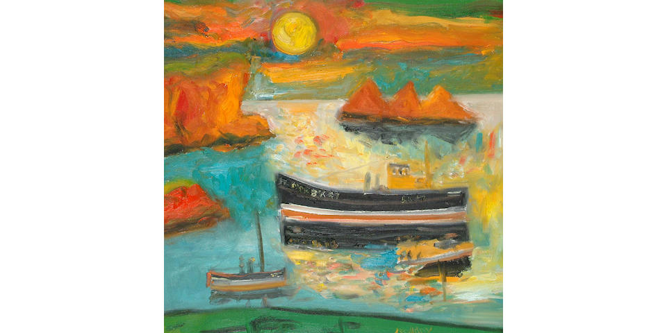 John Bellany (British, b.1942) Boat and Sun 50 x 50cm.