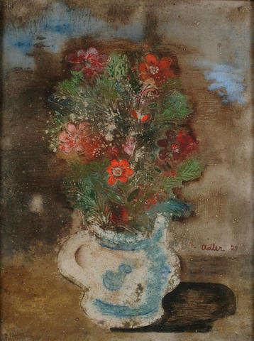Jankel Adler (Polish, 1895-1949) Still life of flowers in a blue and white vase 64 x 48cm.