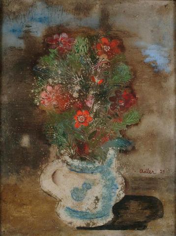 Jankel Adler (Polish, 1895-1949) Still life of flowers in a blue and white vase 64 x 48cm.