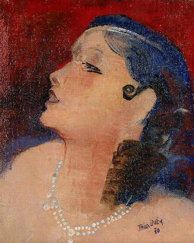 Jean Dufy (French, 1888-1964) Jeune femme au collier de perles unframed 27 x 22cm.