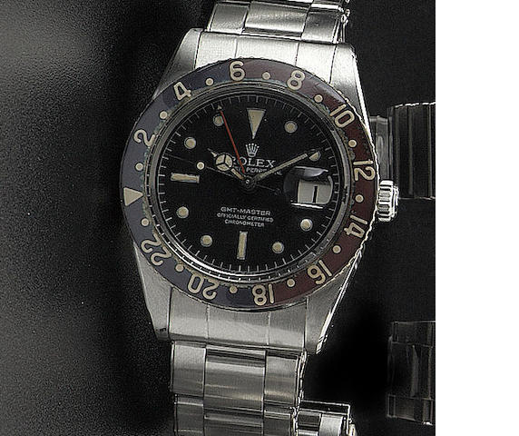 Rolex. A fine stainless steel automatic twin time zone wristwatch  'GMT Master' Ref:6542, Circa 1957