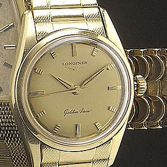 Longines. An 18ct gold centre seconds bracelet watch with original Guarentee 'Golden Arrow', the gua