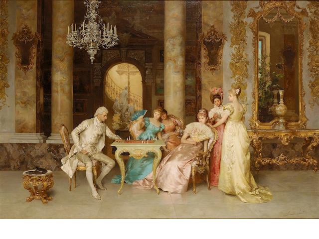Francesco Beda (Italian 1840-1900) The game of chess 81 x 117.5 cm. (32 x 46 1/4 in.)