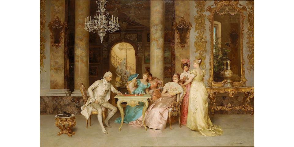 Francesco Beda (Italian 1840-1900) The game of chess 81 x 117.5 cm. (32 x 46 1/4 in.)