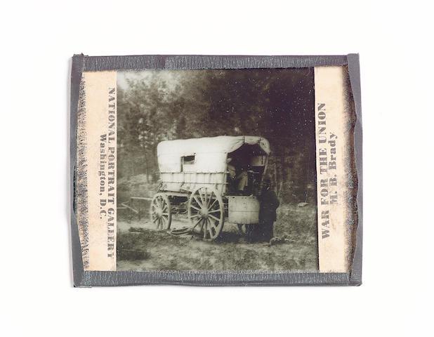 An M.B. Brady Glass Photographic Slide of a Union Telegraph Wagon, American, circa 1865,