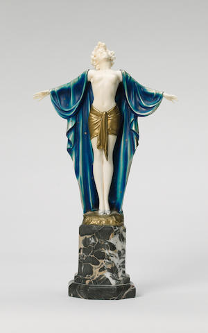 Ferdinand Preiss, circa 1925 'Spring Awakening' a Fine Cold-Painted Bronze and Carved Ivory Figure