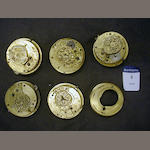 Five verge watch movements, John Holmes, London and others 5