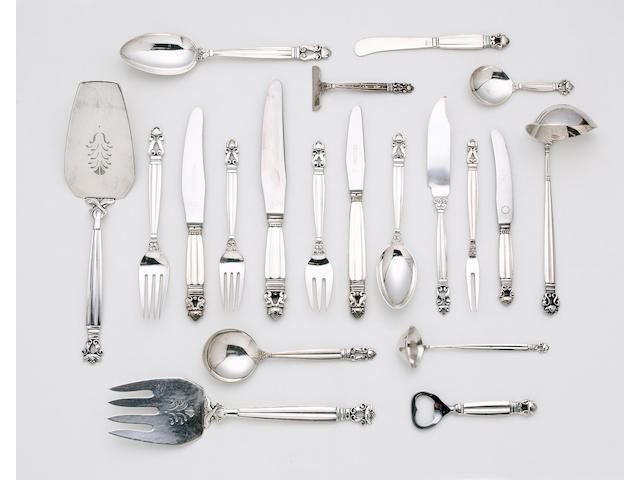 Johan Rohde for Georg Jensen: A collected Acorn (Konge) pattern service of flatware, maker's marks mostly for 1933 - 1944, some with Danish hallmarks,