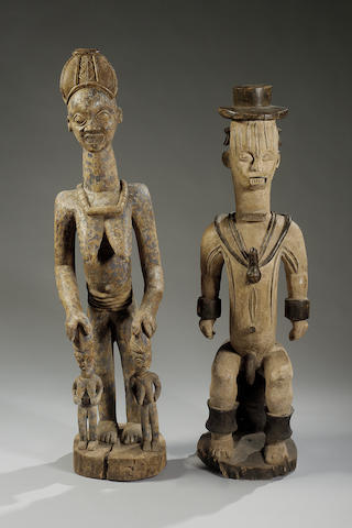 A Yoruba Wood Mother with Twins Iyameji, Nigeria