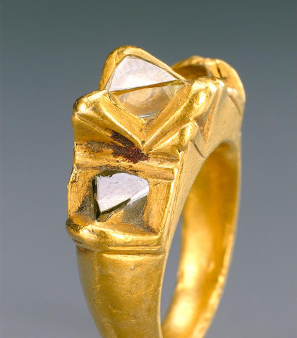 Two gold and diamonds Rings one with inscription