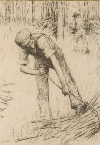 Henry Herbert La Thangue R.A. (1859-1929) Woodsmen 51 x 36 cm. (20 x 14 1/8 in.)
