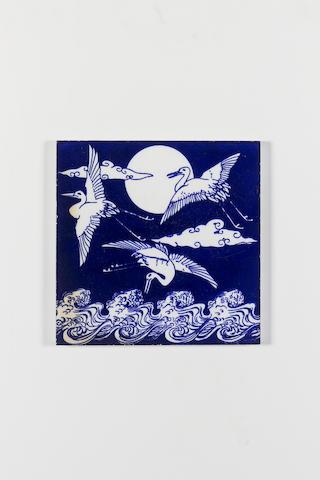 A Minton tile designed by Christopher Dresser,