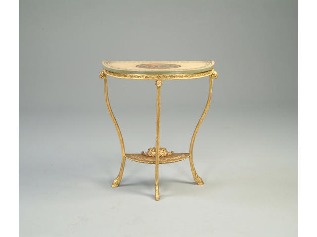 An Adam style gilt gesso demi-lune console table