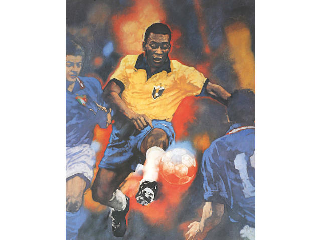 Limited edition signed Pele print,