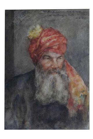 Henry Scott Tuke R.A., R.W.S. (British, 1858-1929) Portrait of W. G. Grace wearing Ranji's turban to