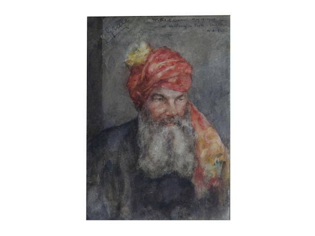 Henry Scott Tuke R.A., R.W.S. (British, 1858-1929) Portrait of W. G. Grace wearing Ranji's turban together with a photograph of W.G. Grace and Ranji and the original Christie's sale catalogue 24 x 17 cm. (9 1/2 x 6 3/4 in.)