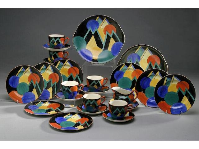 A rare Susie Cooper geometric part tea set,