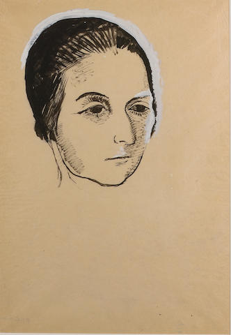 Pavel Tchelitchew (1898-1957) Head of a Woman 55 x 38 cm. (21 5/8 x 15 in.)