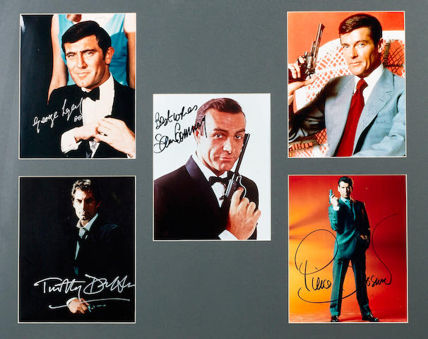 Five signed 'James Bond' photographs,