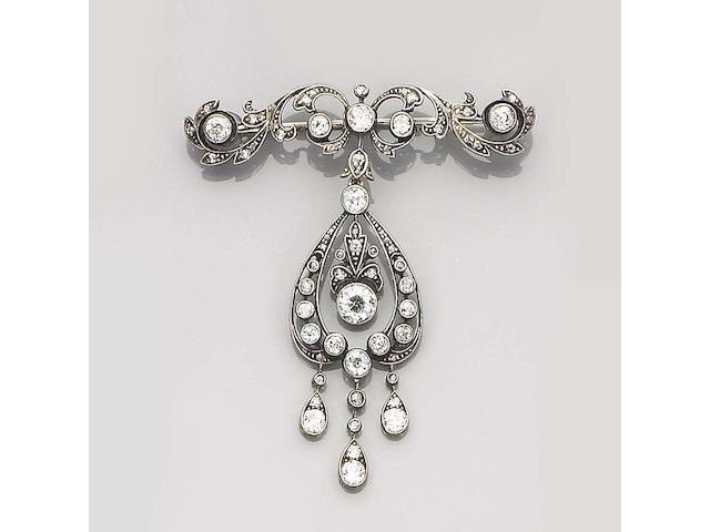 An early 20th century diamond-set brooch/pendant