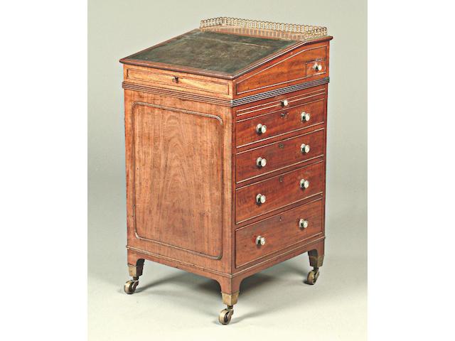 A Regency mahogany davenport,
