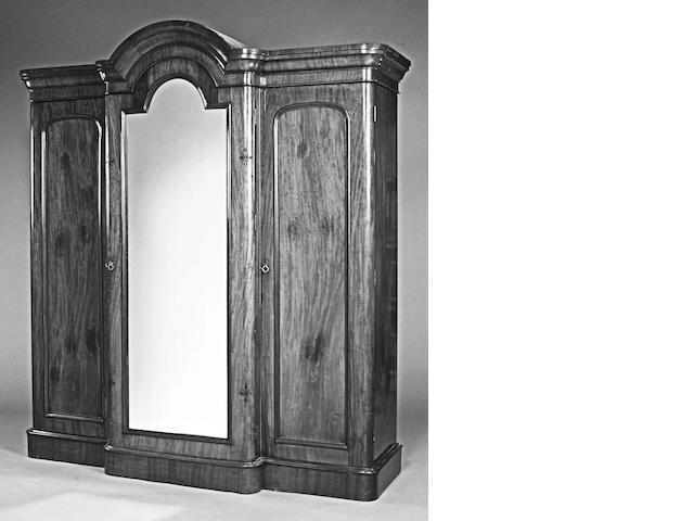 A mid Victorian mahogany breakfront wardrobe,
