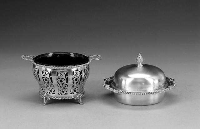 A silver two-handled circular bonbon dish, Birmingham 1962,