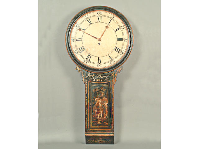 A George III black lacquered tavern clock,