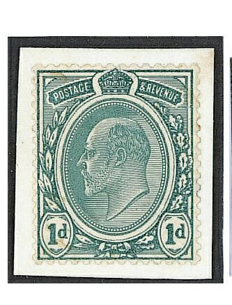 "1902-10 De La Rue: 1902 1d. blue-green perfd. ""Transvaal"" essay, type 2 monuted on card, printed in green with the thin line painted between the oval and the King's head and joined to the base of the Crown. The value tablets and Crown touched-in white, scarce."