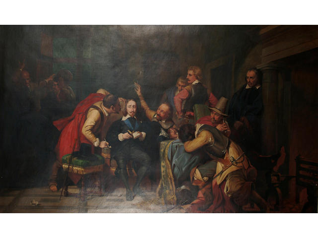 English School, 19th Century, A historical scene from the civil war,  King Charles I seated in the centre of the composition, 137 x 228cm