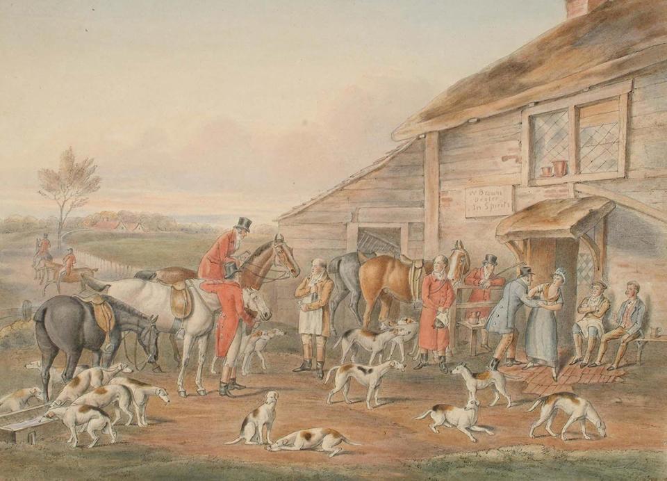 English School, 19th Century, The Hunt, each 30 x 41.3cm (6)