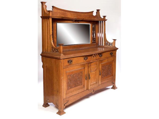 British, circa 1900, An Art Nouveau style oak sideboard,