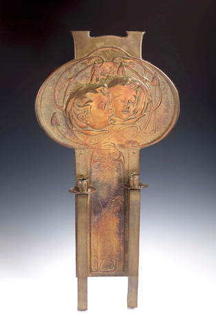 Marion Henderson Wilson (1869-1956), A large brass wall sconce,