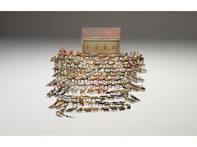 A large and extremely fine wooden Noahs Ark and animals, German 1870s-80s