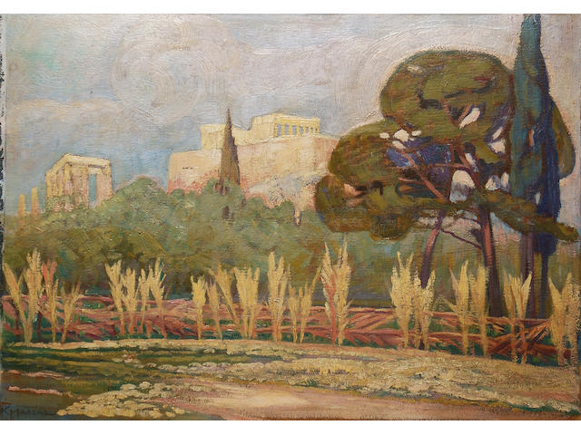 Constantinos Maleas (Greek 1879-1928) View of the Acropolis 50 x 69 cm. (19 1/2 x 27 in.)