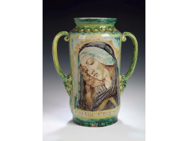 Della Robbia, A two handled arbarello by Madame Maianne De Caluwe,