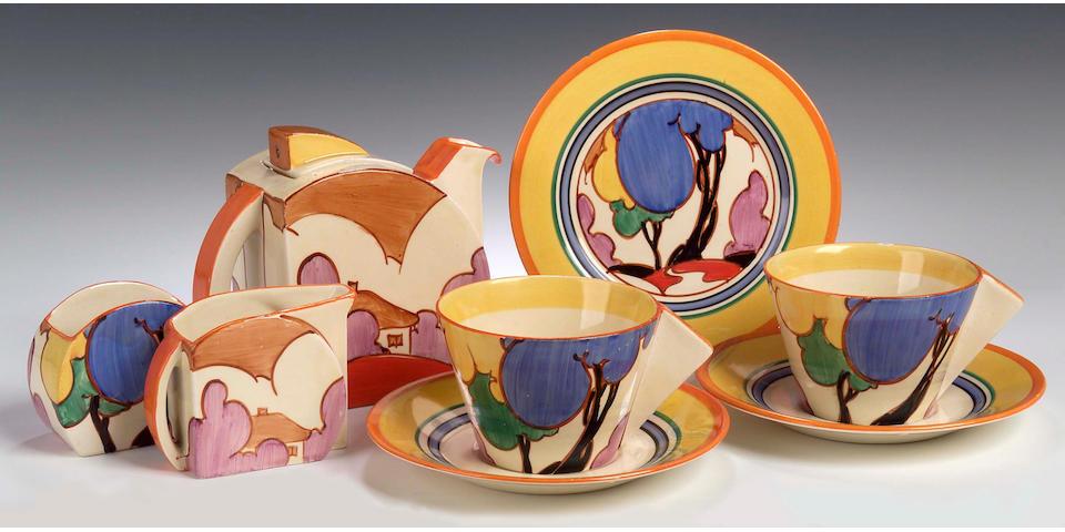 Clarice Cliff, A 'Blue Autumn' Bon Jour tea set for two,