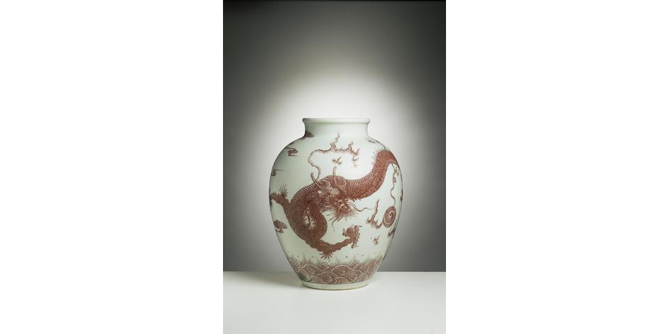 A fine underglaze-copper-red 'dragon' vase 18th Century