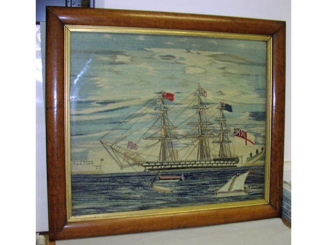 A Large 19th Century Sailor's Woolwork Picture 94 x 81cm.(37 x 32in.)framed.
