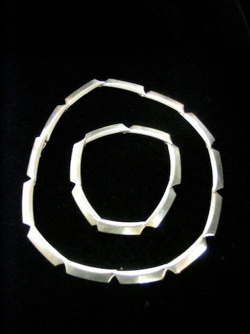 Georg Jensen, A silver necklace and bracelet,