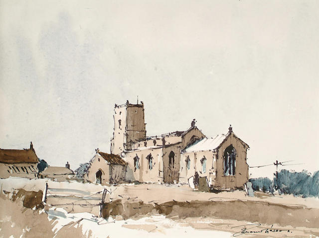 Edward Wesson (British, 1910-1983) Marston Church, Norfolk unframed 27.5 x 36.5cm.