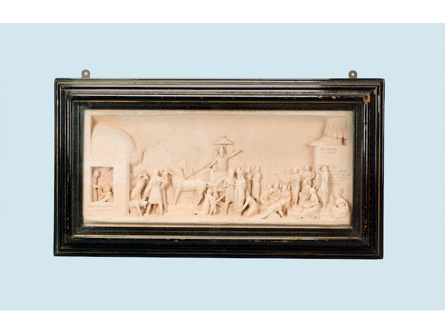 George Tinworth A framed Doulton terracotta plaque by George Tinworth