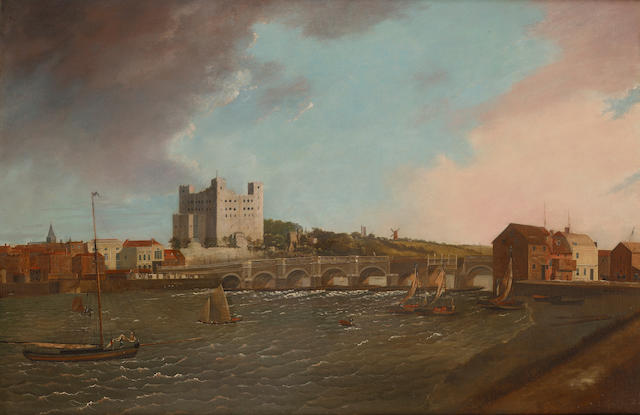 Daniel Turner (British, exh. 1782-1801) The Medway with Rochester Castle 71.7 x 108cm. (28 1/4 x 42