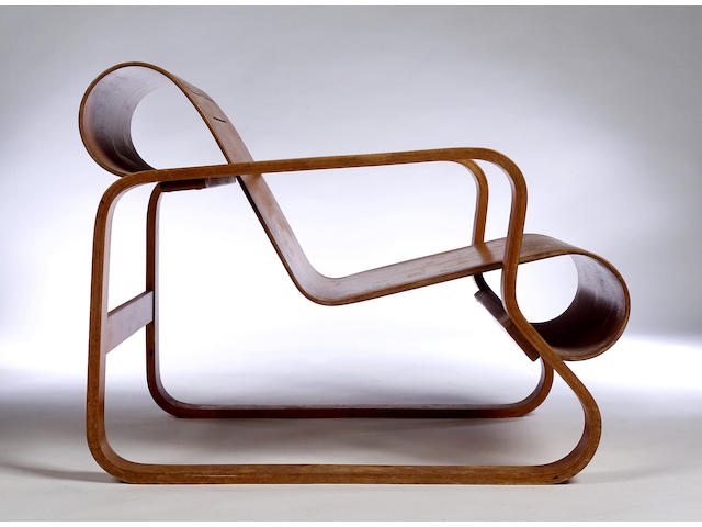 Alvar Aalto,  A Paimio Chair, no. 41 circa 1932, retailed by Finmar,