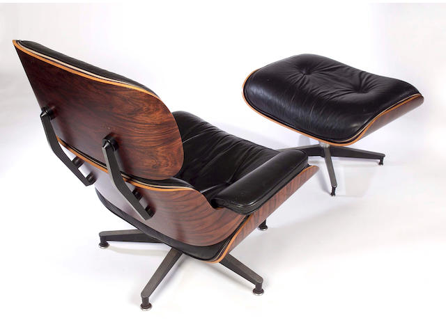 Charles and Ray Eames, A Lounge chair and ottoman, manufactured by Herman Miller,