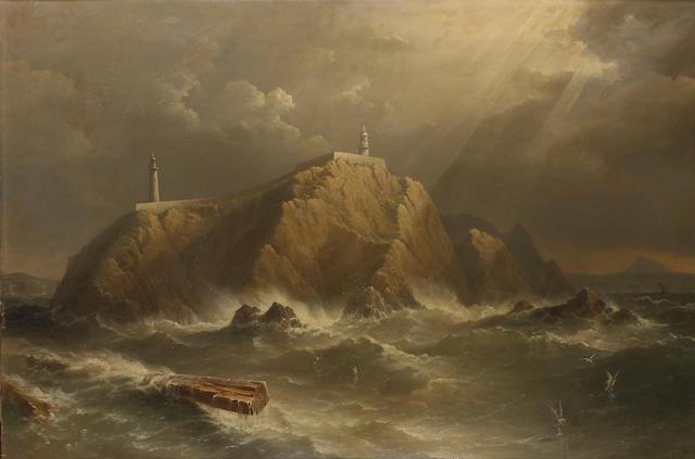 Admiral Richard Brydges Beechey (British, 1808-1895) 'Eagle Island off Erris Head, W. Coast of Ireland' 76.2 x 114.3cm. (30 x 45in.)