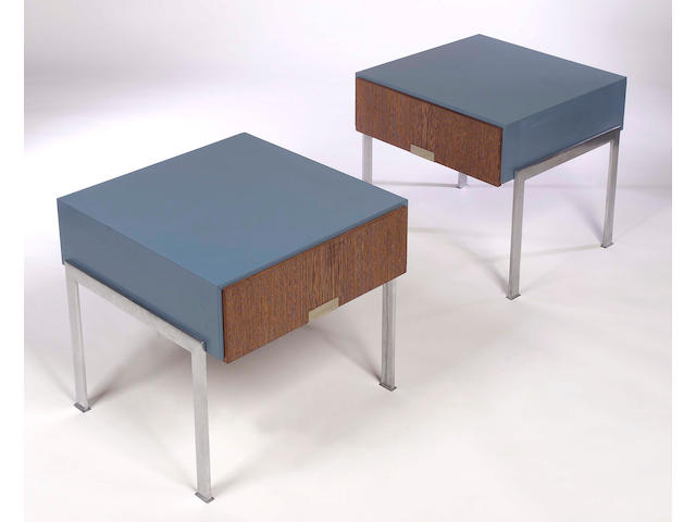 Arne Jacobsen, A pair of bedside cabinets, designed exclusively for The SAS Rotal Hotel, Copenhagen, manufactured by Asmussen and Weber,
